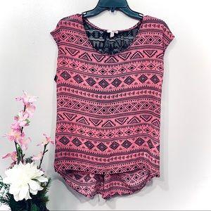 BONGO Pink Black Lace Back Bow Sleeveless Top